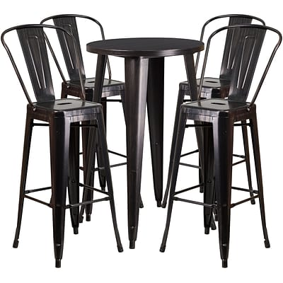 24 Round Black-Antique Gold Metal Indoor-Outdoor Bar Table Set with 4 Cafe Barstools [CH-51080BH-4-30CAFE-BQ-GG]