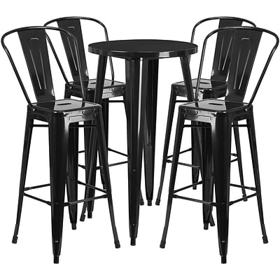 24 Round Black Metal Indoor-Outdoor Bar Table Set with 4 Cafe Barstools [CH-51080BH-4-30CAFE-BK-GG]