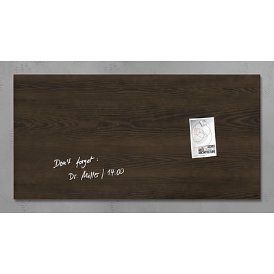 Sigel 36 x 18 Contemporary Magnetic Glass Board, Dark Wood