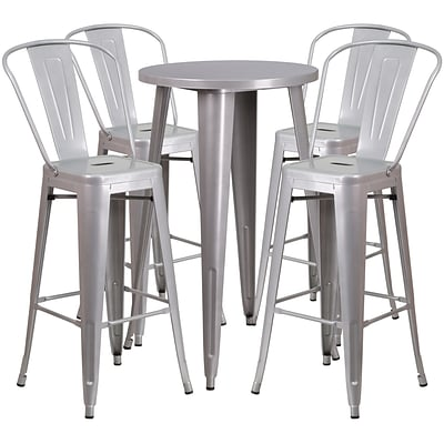 24 Round Silver Metal Indoor-Outdoor Bar Table Set with 4 Cafe Barstools [CH-51080BH-4-30CAFE-SIL-GG]