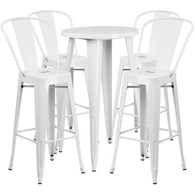 24 Round White Metal Indoor-Outdoor Bar Table Set with 4 Cafe Barstools [CH-51080BH-4-30CAFE-WH-GG]