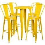 24 Round Yellow Metal Indoor-Outdoor Bar Table Set with 4 Cafe Barstools [CH-51080BH-4-30CAFE-YL-G