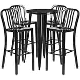 24 Round Black Metal Indoor-Outdoor Bar Table Set with 4 Vertical Slat Back Barstools [CH-51080BH-