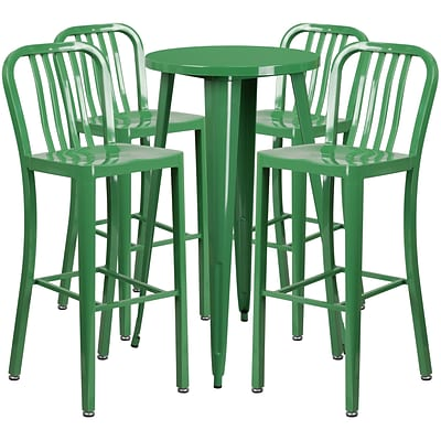 24 Round Green Metal Indoor-Outdoor Bar Table Set with 4 Vertical Slat Back Barstools [CH-51080BH-4-30VRT-GN-GG]