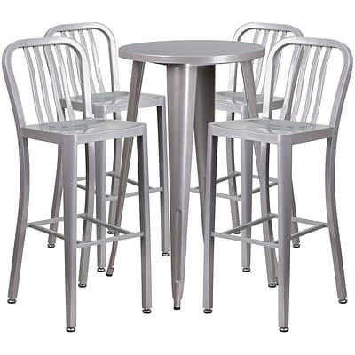 24 Round Silver Metal Indoor-Outdoor Bar Table Set with 4 Vertical Slat Back Barstools [CH-51080BH-4-30VRT-SIL-GG]