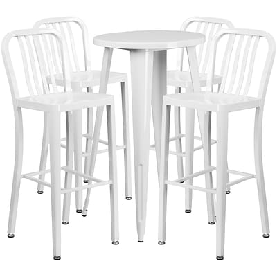24 Round White Metal Indoor-Outdoor Bar Table Set with 4 Vertical Slat Back Barstools [CH-51080BH-4-30VRT-WH-GG]