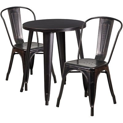24 Round Black-Antique Gold Metal Indoor-Outdoor Table Set with 2 Cafe Chairs [CH-51080TH-2-18CAFE-BQ-GG]