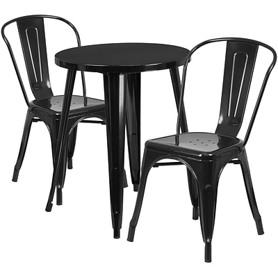 24 Round Black Metal Indoor-Outdoor Table Set with 2 Cafe Chairs [CH-51080TH-2-18CAFE-BK-GG]