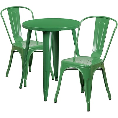 24 Round Green Metal Indoor-Outdoor Table Set with 2 Cafe Chairs [CH-51080TH-2-18CAFE-GN-GG]