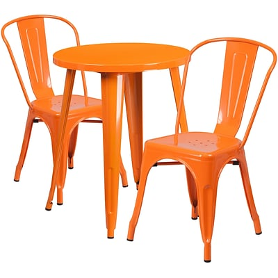 24 Round Orange Metal Indoor-Outdoor Table Set with 2 Cafe Chairs [CH-51080TH-2-18CAFE-OR-GG]