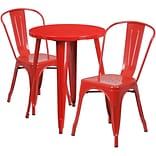 24 Round Red Metal Indoor-Outdoor Table Set with 2 Cafe Chairs [CH-51080TH-2-18CAFE-RED-GG]