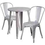 24 Round Silver Metal Indoor-Outdoor Table Set with 2 Cafe Chairs [CH-51080TH-2-18CAFE-SIL-GG]