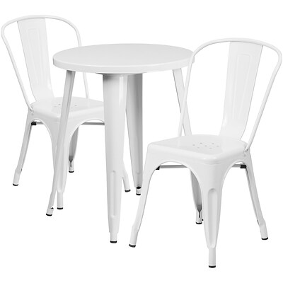 24 Round White Metal Indoor-Outdoor Table Set with 2 Cafe Chairs [CH-51080TH-2-18CAFE-WH-GG]