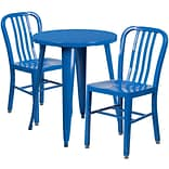 24 Round Blue Metal Indoor-Outdoor Table Set with 2 Vertical Slat Back Chairs [CH-51080TH-2-18VRT-