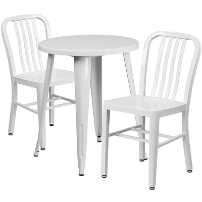 24 Round White Metal Indoor-Outdoor Table Set with 2 Vertical Slat Back Chairs [CH-51080TH-2-18VRT-WH-GG]