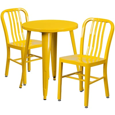 24 Round Yellow Metal Indoor-Outdoor Table Set with 2 Vertical Slat Back Chairs [CH-51080TH-2-18VRT-YL-GG]