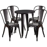 24 Round Black-Antique Gold Metal Indoor-Outdoor Table Set with 4 Cafe Chairs [CH-51080TH-4-18CAFE