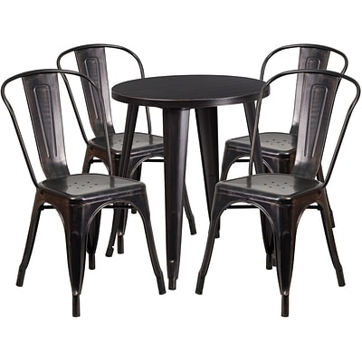 24 Round Black-Antique Gold Metal Indoor-Outdoor Table Set with 4 Cafe Chairs [CH-51080TH-4-18CAFE-BQ-GG]