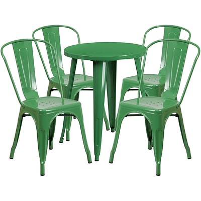 24 Round Green Metal Indoor-Outdoor Table Set with 4 Cafe Chairs [CH-51080TH-4-18CAFE-GN-GG]