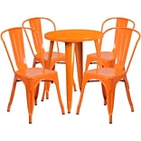 24 Round Orange Metal Indoor-Outdoor Table Set with 4 Cafe Chairs [CH-51080TH-4-18CAFE-OR-GG]
