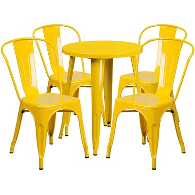 24 Round Yellow Metal Indoor-Outdoor Table Set with 4 Cafe Chairs [CH-51080TH-4-18CAFE-YL-GG]