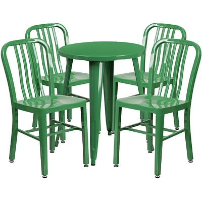 24 Round Green Metal Indoor-Outdoor Table Set with 4 Vertical Slat Back Chairs [CH-51080TH-4-18VRT-GN-GG]