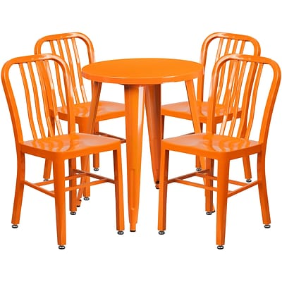 24 Round Orange Metal Indoor-Outdoor Table Set with 4 Vertical Slat Back Chairs [CH-51080TH-4-18VRT-OR-GG]