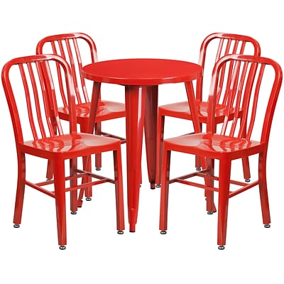 24 Round Red Metal Indoor-Outdoor Table Set with 4 Vertical Slat Back Chairs [CH-51080TH-4-18VRT-RED-GG]