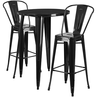 30 Round Black Metal Indoor-Outdoor Bar Table Set with 2 Cafe Barstools [CH-51090BH-2-30CAFE-BK-GG]