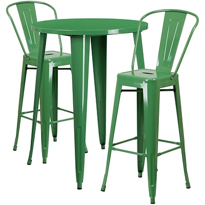 30 Round Green Metal Indoor-Outdoor Bar Table Set with 2 Cafe Barstools [CH-51090BH-2-30CAFE-GN-GG]