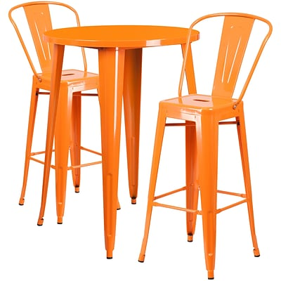 30 Round Orange Metal Indoor-Outdoor Bar Table Set with 2 Cafe Barstools [CH-51090BH-2-30CAFE-OR-GG]