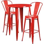 30 Round Red Metal Indoor-Outdoor Bar Table Set with 2 Cafe Barstools [CH-51090BH-2-30CAFE-RED-GG]