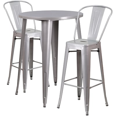 30 Round Silver Metal Indoor-Outdoor Bar Table Set with 2 Cafe Barstools [CH-51090BH-2-30CAFE-SIL-GG]