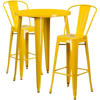 30 Round Yellow Metal Indoor-Outdoor Bar Table Set with 2 Cafe Barstools [CH-51090BH-2-30CAFE-YL-GG]