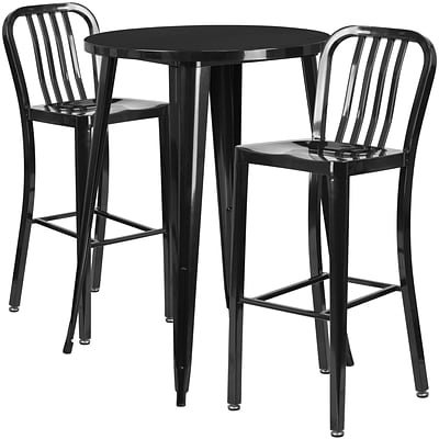 30 Round Black Metal Indoor-Outdoor Bar Table Set with 2 Vertical Slat Back Barstools [CH-51090BH-2-30VRT-BK-GG]