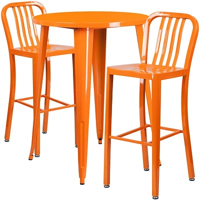30 Round Orange Metal Indoor-Outdoor Bar Table Set with 2 Vertical Slat Back Barstools [CH-51090BH-2-30VRT-OR-GG]