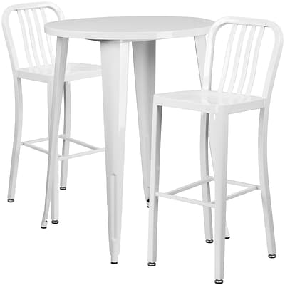 30 Round White Metal Indoor-Outdoor Bar Table Set with 2 Vertical Slat Back Barstools [CH-51090BH-2-30VRT-WH-GG]