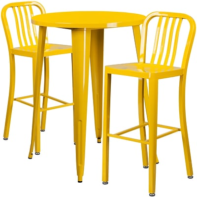 30 Round Yellow Metal Indoor-Outdoor Bar Table Set with 2 Vertical Slat Back Barstools [CH-51090BH-2-30VRT-YL-GG]