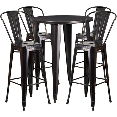 30 Round Black-Antique Gold Metal Indoor-Outdoor Bar Table Set with 4 Cafe Barstools [CH-51090BH-4-30CAFE-BQ-GG]