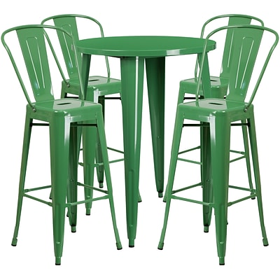 30 Round Green Metal Indoor-Outdoor Bar Table Set with 4 Cafe Barstools [CH-51090BH-4-30CAFE-GN-GG]