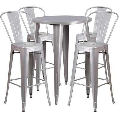 30 Round Silver Metal Indoor-Outdoor Bar Table Set with 4 Cafe Barstools [CH-51090BH-4-30CAFE-SIL-GG]