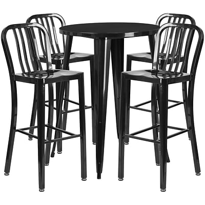 30 Round Black Metal Indoor-Outdoor Bar Table Set with 4 Vertical Slat Back Barstools [CH-51090BH-4-30VRT-BK-GG]