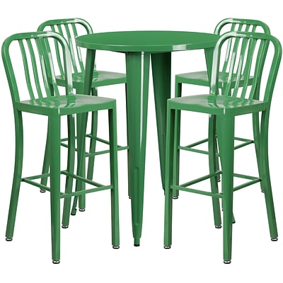 30 Round Green Metal Indoor-Outdoor Bar Table Set with 4 Vertical Slat Back Barstools [CH-51090BH-4-30VRT-GN-GG]