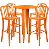 30 Round Orange Metal Indoor-Outdoor Bar Table Set with 4 Vertical Slat Back Barstools [CH-51090BH