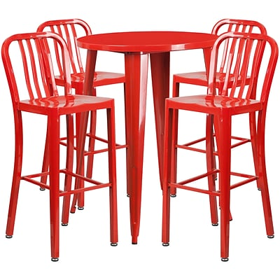30 Round Red Metal Indoor-Outdoor Bar Table Set with 4 Vertical Slat Back Barstools [CH-51090BH-4-30VRT-RED-GG]