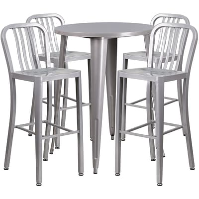 30 Round Silver Metal Indoor-Outdoor Bar Table Set with 4 Vertical Slat Back Barstools [CH-51090BH-4-30VRT-SIL-GG]