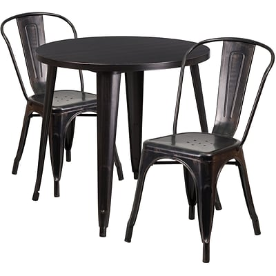 30 Round Black-Antique Gold Metal Indoor-Outdoor Table Set with 2 Cafe Chairs [CH-51090TH-2-18CAFE-BQ-GG]