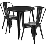 30 Round Black Metal Indoor-Outdoor Table Set with 2 Cafe Chairs [CH-51090TH-2-18CAFE-BK-GG]