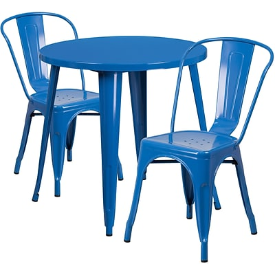 30 Round Blue Metal Indoor-Outdoor Table Set with 2 Cafe Chairs [CH-51090TH-2-18CAFE-BL-GG]