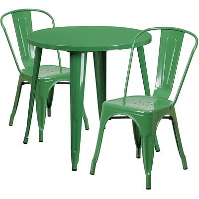 30 Round Green Metal Indoor-Outdoor Table Set with 2 Cafe Chairs [CH-51090TH-2-18CAFE-GN-GG]